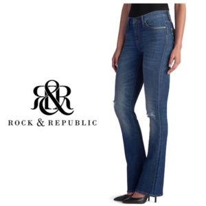Rock & Republic Womens Ripped Boot cut Jeans Sz 14